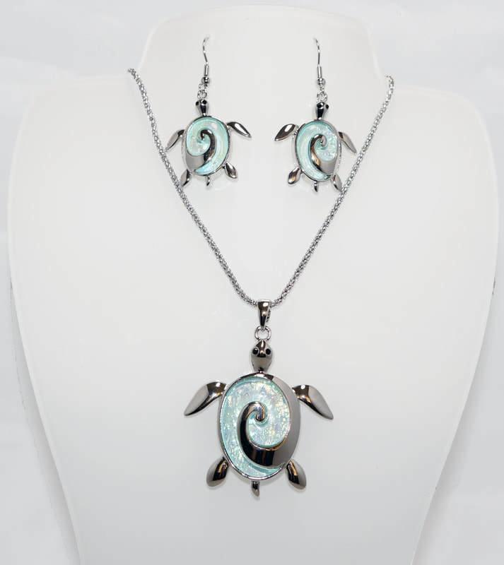 Turtle Swirl Necklace Earring Set STN-75