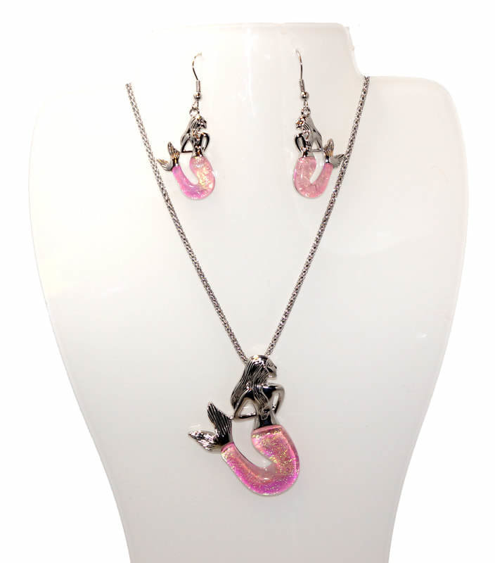 mermaid necklace pink set