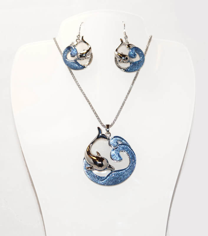 Wave and Dolphin Necklace and Earring Set STN-74