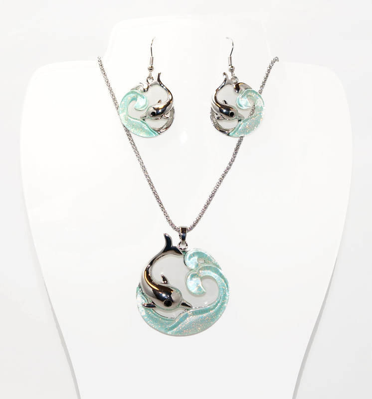 Blue Dolphin necklace set