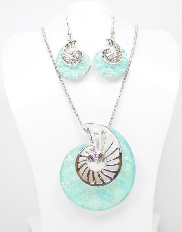 Light Blue Ammonite Necklace