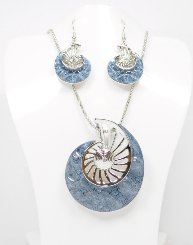 Nautilus Shell Necklace and Earrings Set
