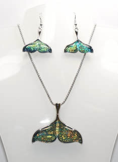 Mermaid Tail Necklace and Earrings Set STN-A63-1