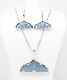 Dark Blue Mermaid Tail Necklace and Earrings Set
