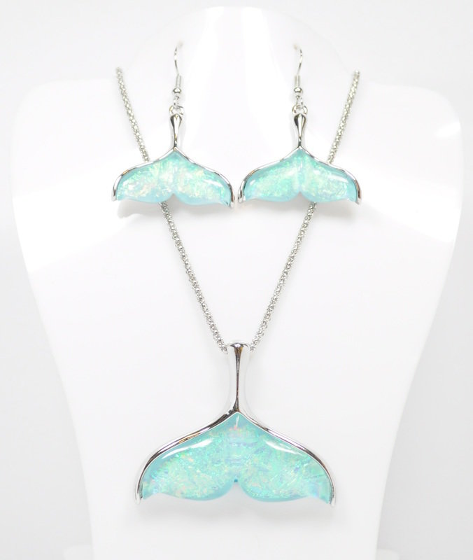 Light Blue Mermaid Tail Necklace and Earrings Set