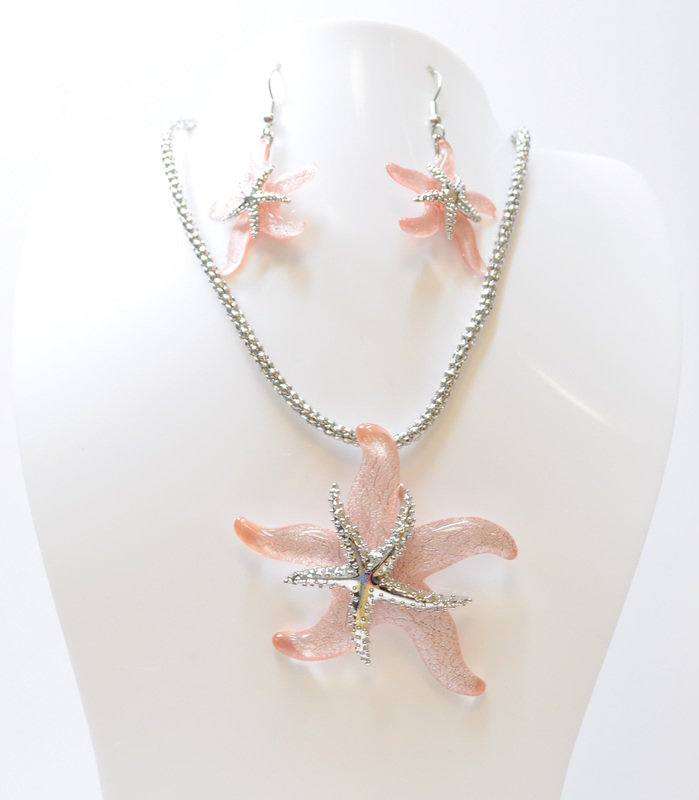 Wish on a Starfish Necklace and Earrings Set STN-113