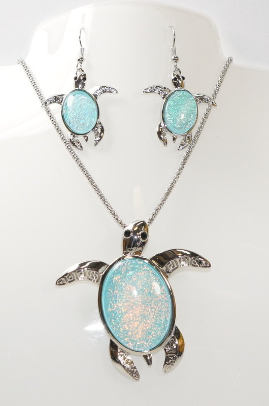 Sea Turtle Necklace and Earrings Set STN-61
