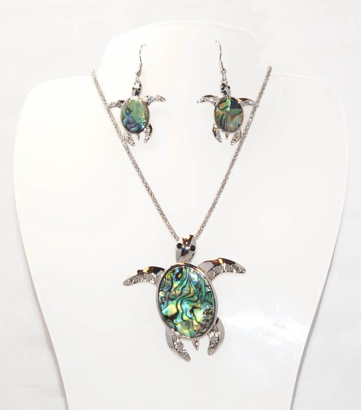 Dark Blue Turtle Necklace Set