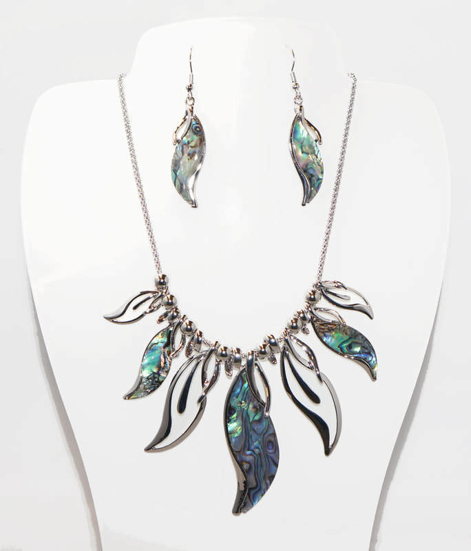 Abalone Waterfall Necklace Set