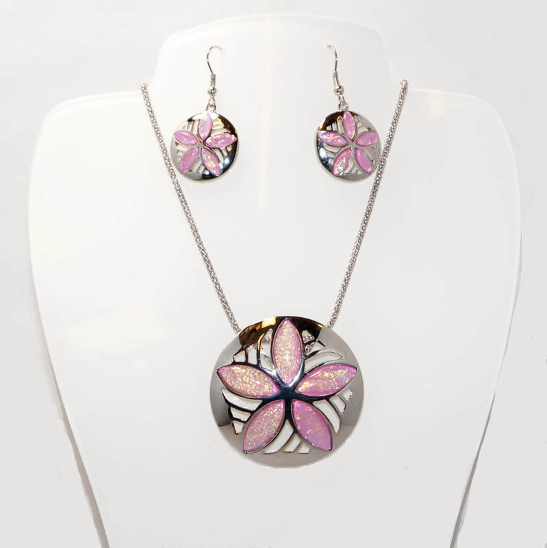 Sand Dollar Necklace and Earrings Set STN-91