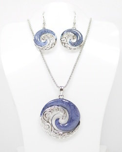 YinYang Wave Necklace and Earrings Set STN-62