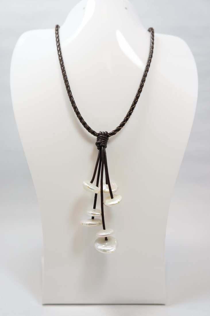 Black Leather with White Coin Pearl Necklace PLN-C1 B/W