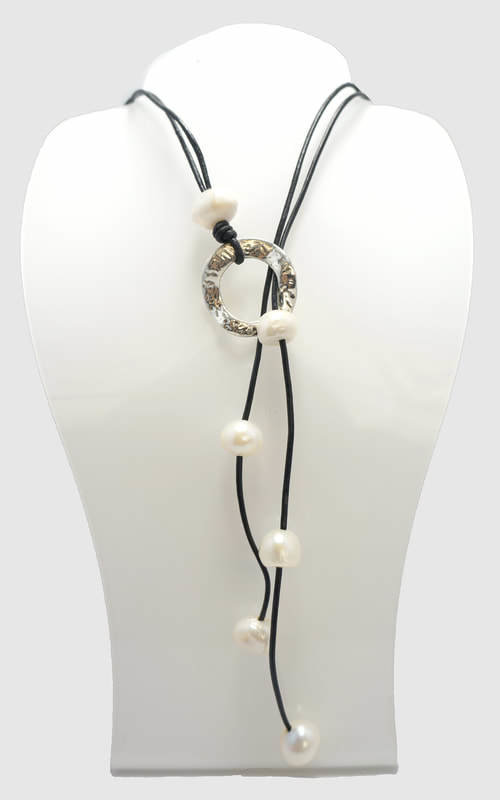 Gray Leather with White Pearl Lariat Necklace PLN-1 G/W