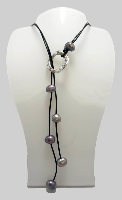 Grey Pearl Leather Necklace