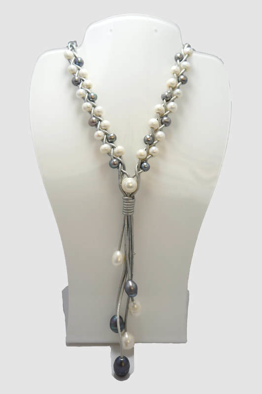 Gray Leather Braided with Gray and White Pearls PLN-5 G/W