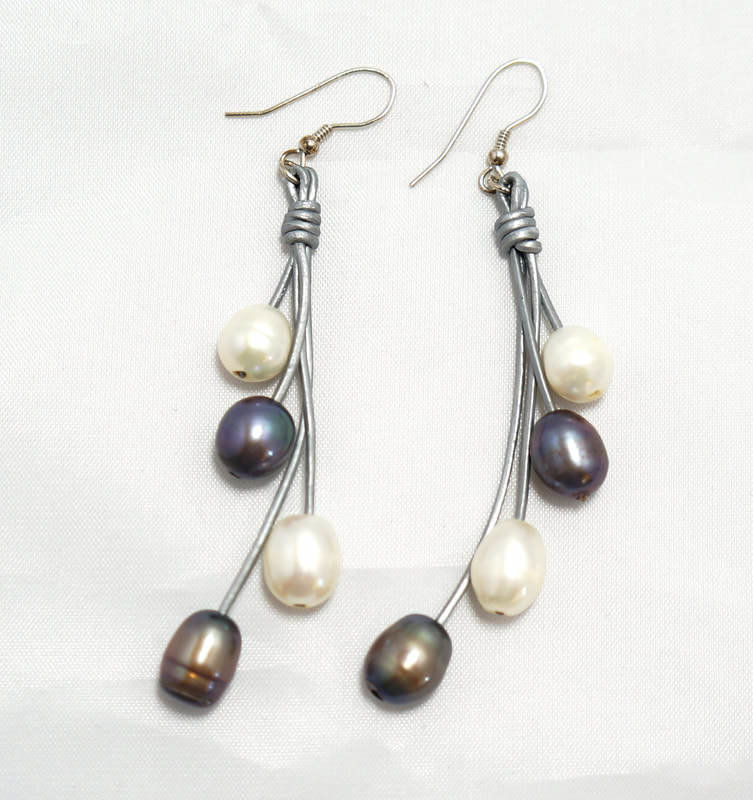 Silver Leather with Multi-Color Pearls