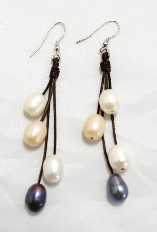 Brown Leather with Multi-Color Pearls