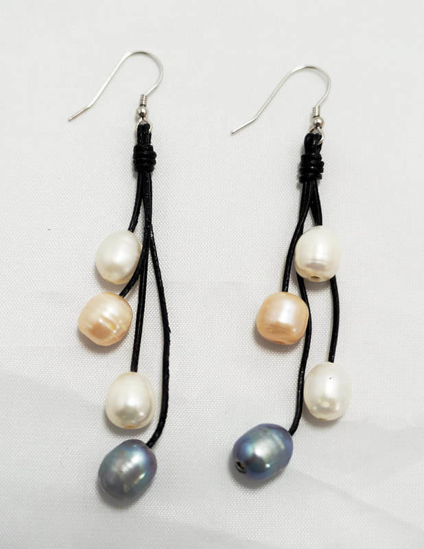 Black Leather with Multi-Color Pearls Earrings