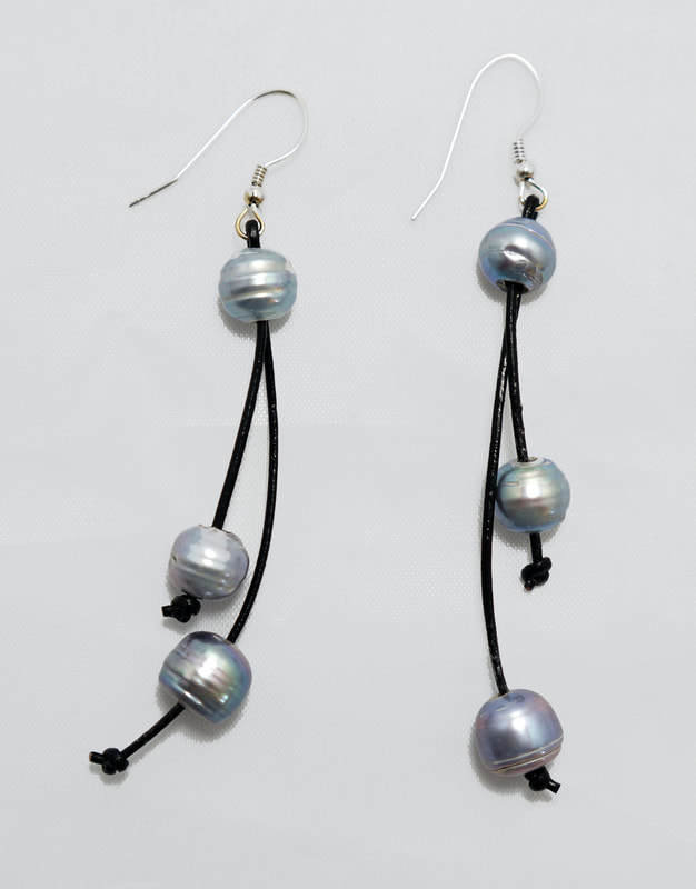 Black Leather with Gray Fresh Water Pearls PLE-1-B/G