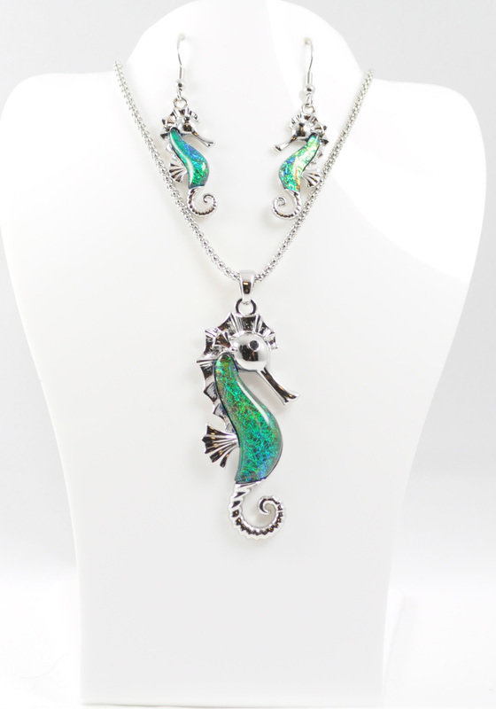 Seahorse Necklace and Earrings Set