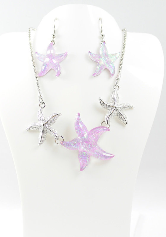 Triple Starfish Necklace and Earrings Set STN-67