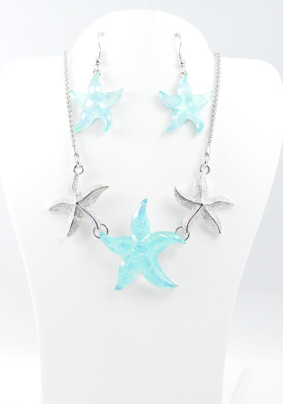 light blue starfish necklace and earrings
