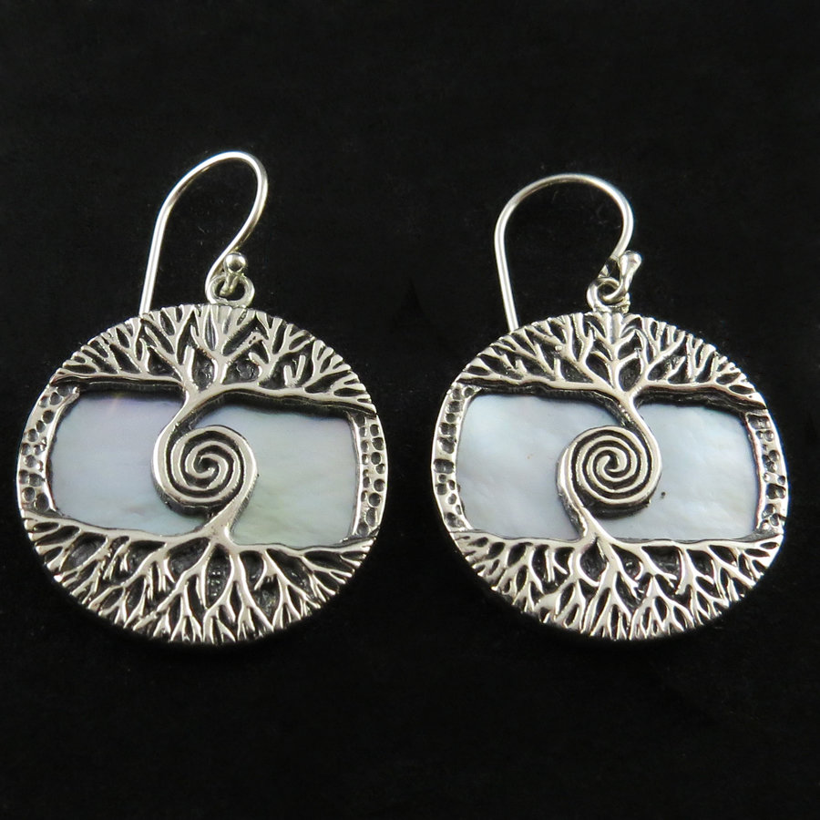 Mother of Pearl SS Tree of Life Earrings AER-4787 MOP
