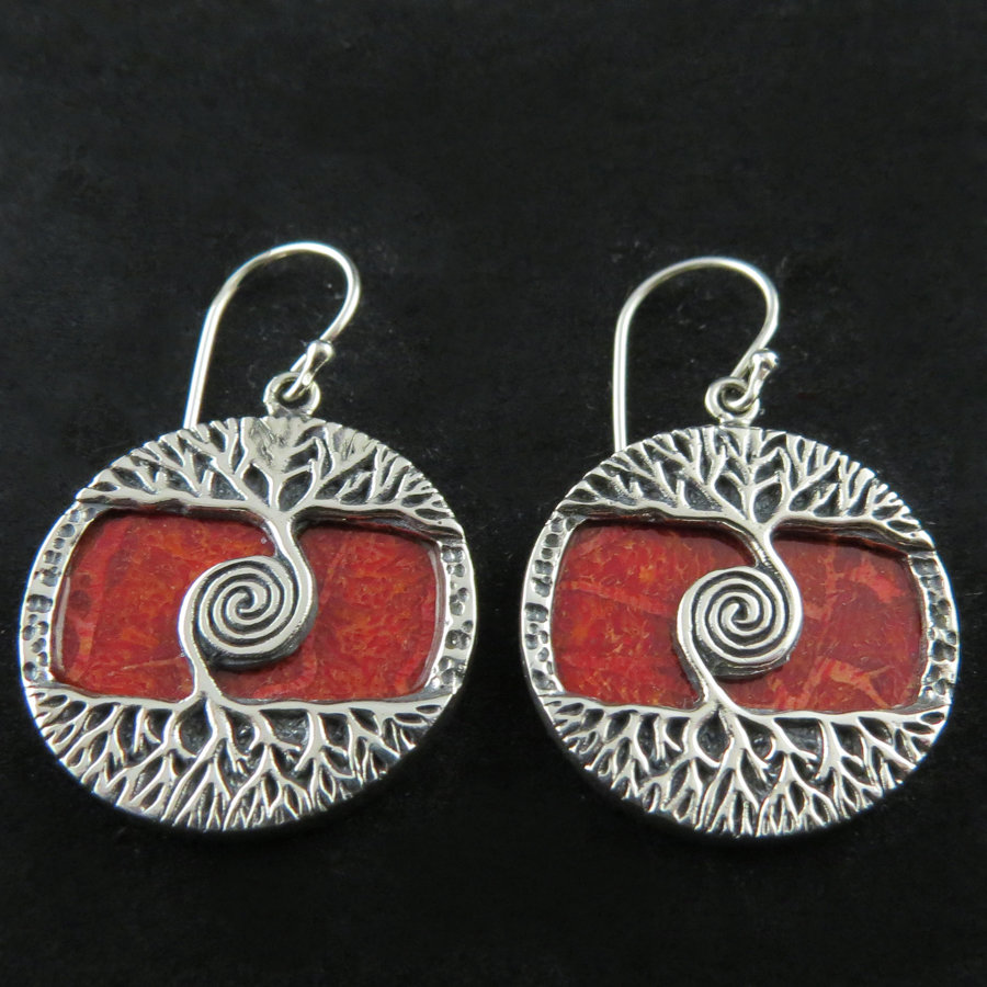 Red Coral Tree of Life Earrings AER-4787