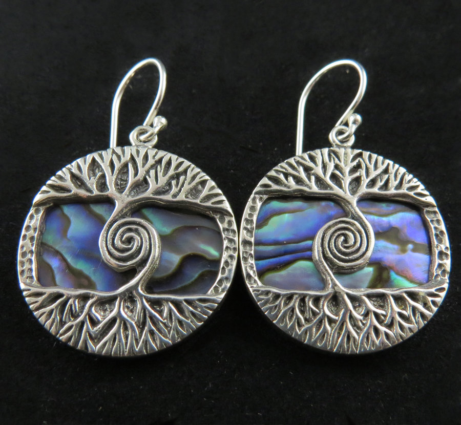 Abalone Tree of Life Earrings AER-4787 Abalone