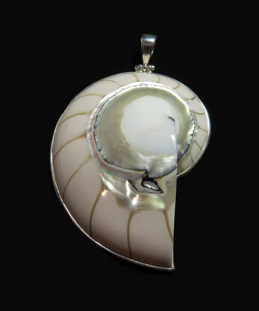 Nautilus Half White Shell Pendant P-APD-4273 White