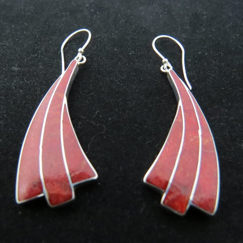 Red Coral Sterling Silver Inlay Earrings