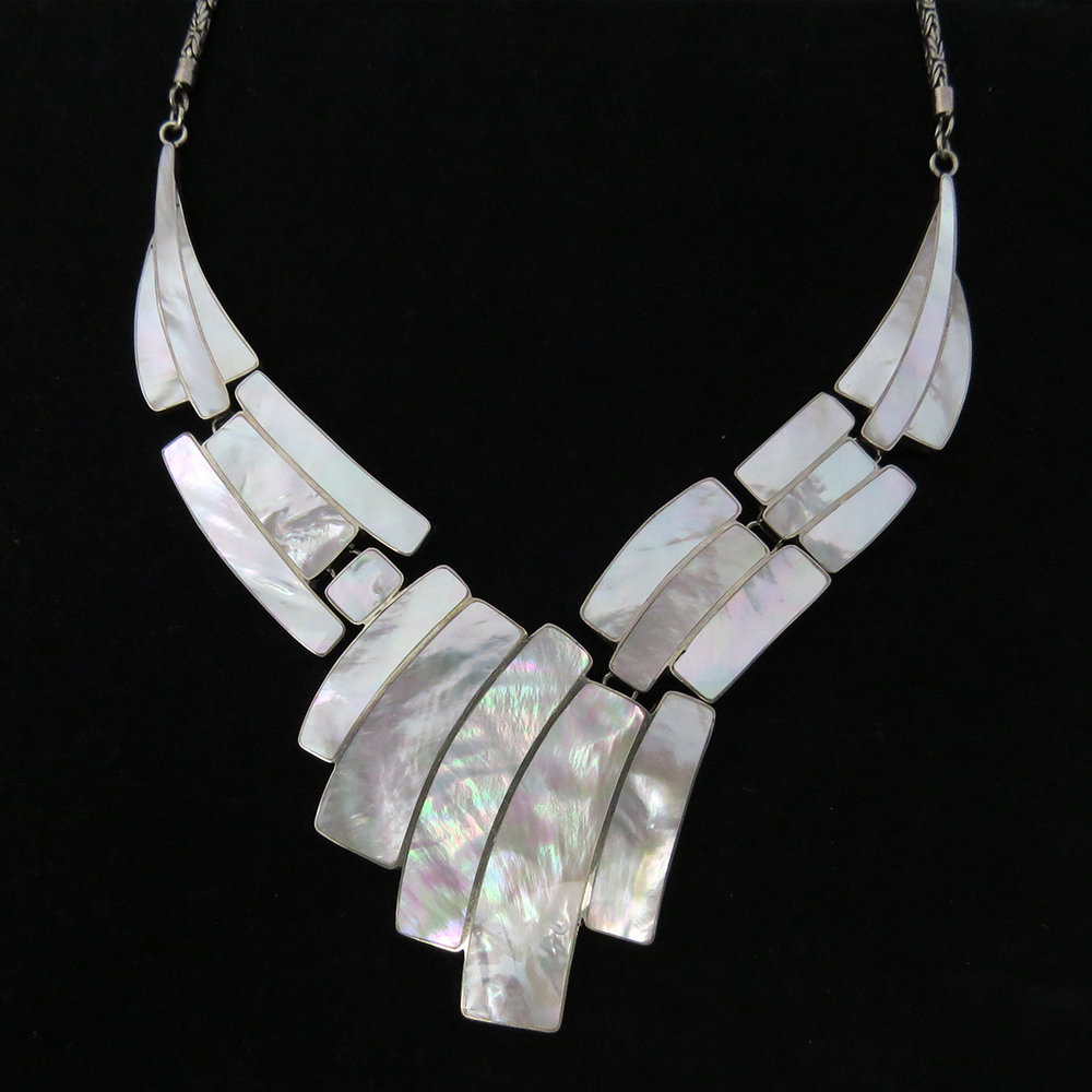 Mother of Pearl Sterling Silver Necklace AKL-779 MOP