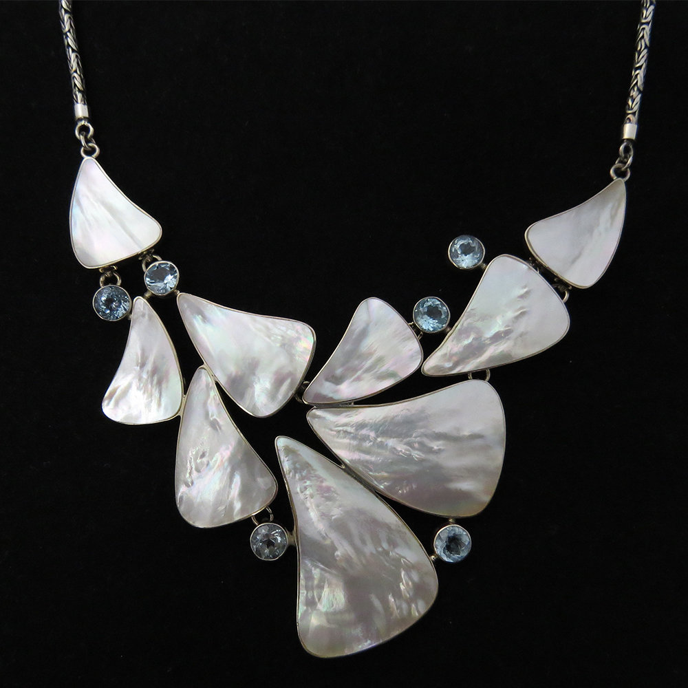 Mother of Pearl with Blue Topaz Necklace AKL-778