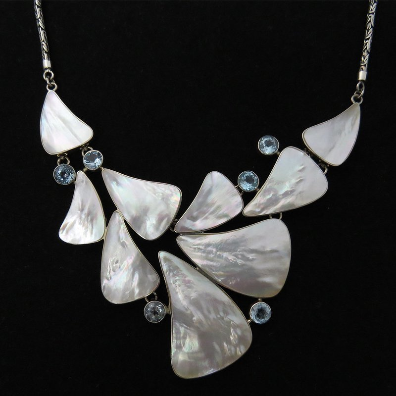 Mother of Pearl with Blue Topaz Necklace