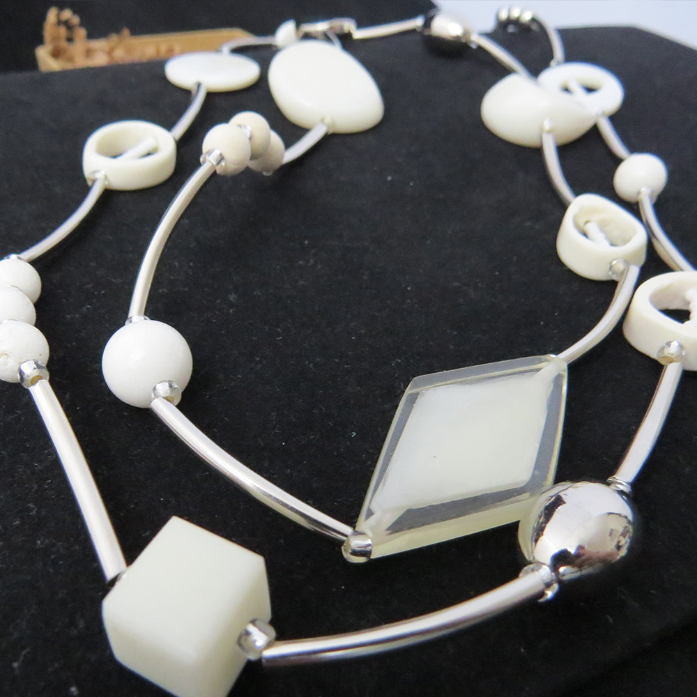 Stainless Steel White Beads Necklace NK-1301