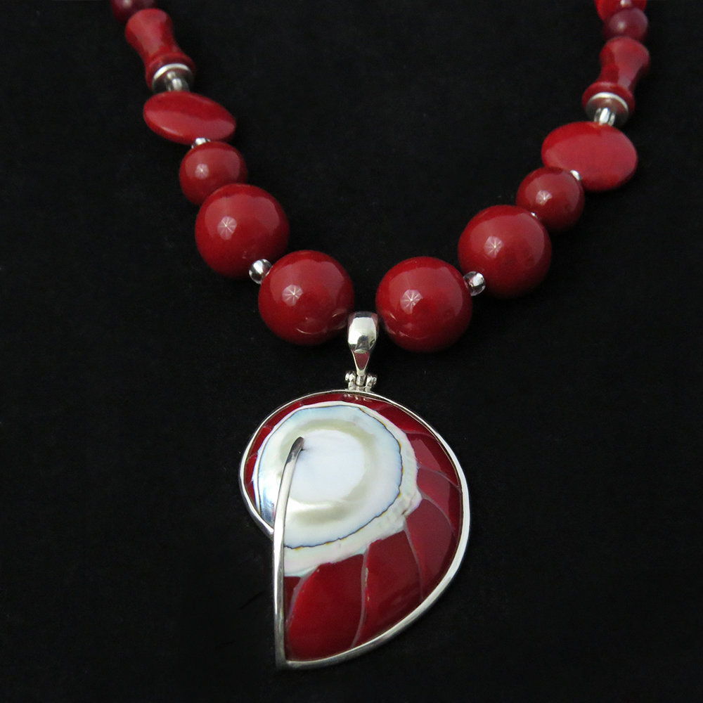 Red Coral Necklace with Nautilus Shell Penant