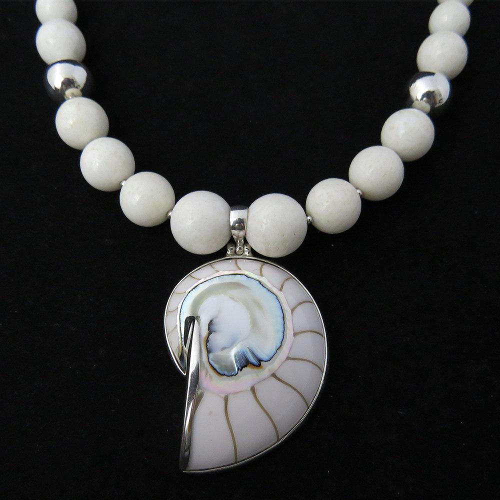 White Coral with White Nautilus Shell NK-1300 White