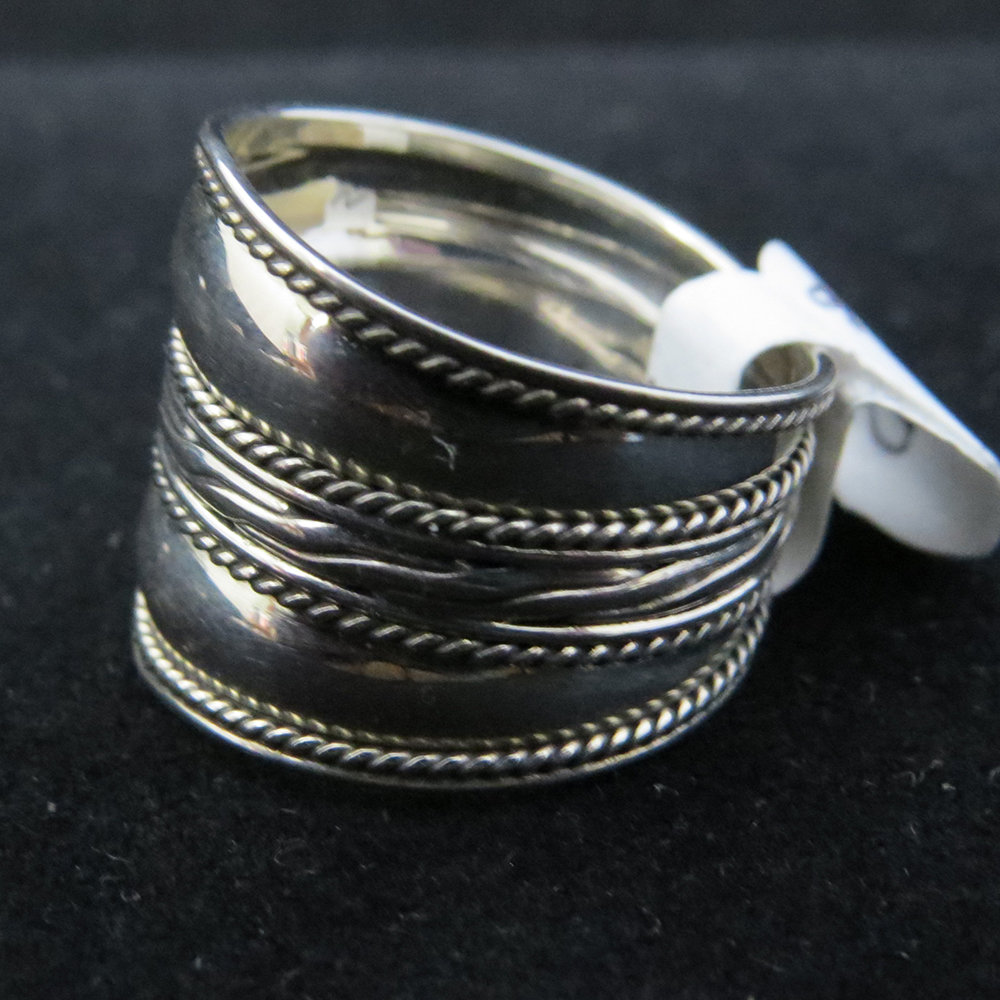 Sterling Silver Wide Band with Center Design R-09166