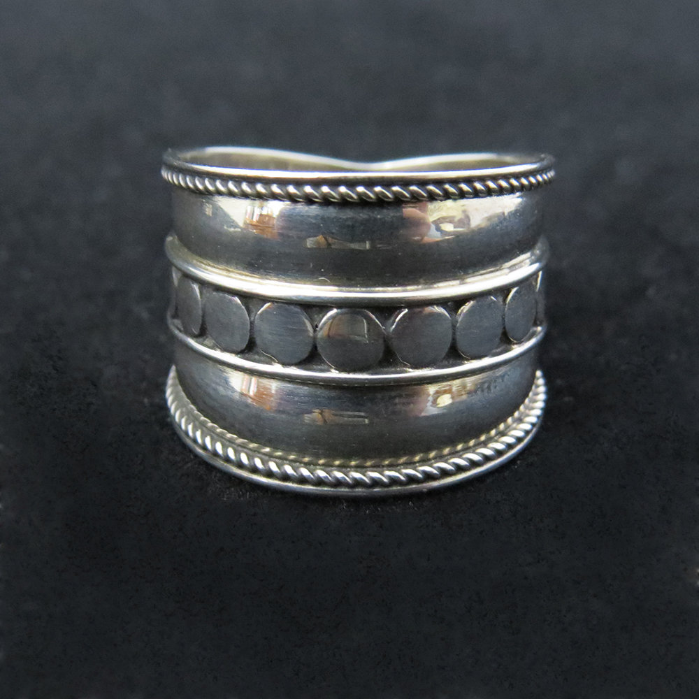 Sterling Silver Wide Band With Dot Design Center R-09167
