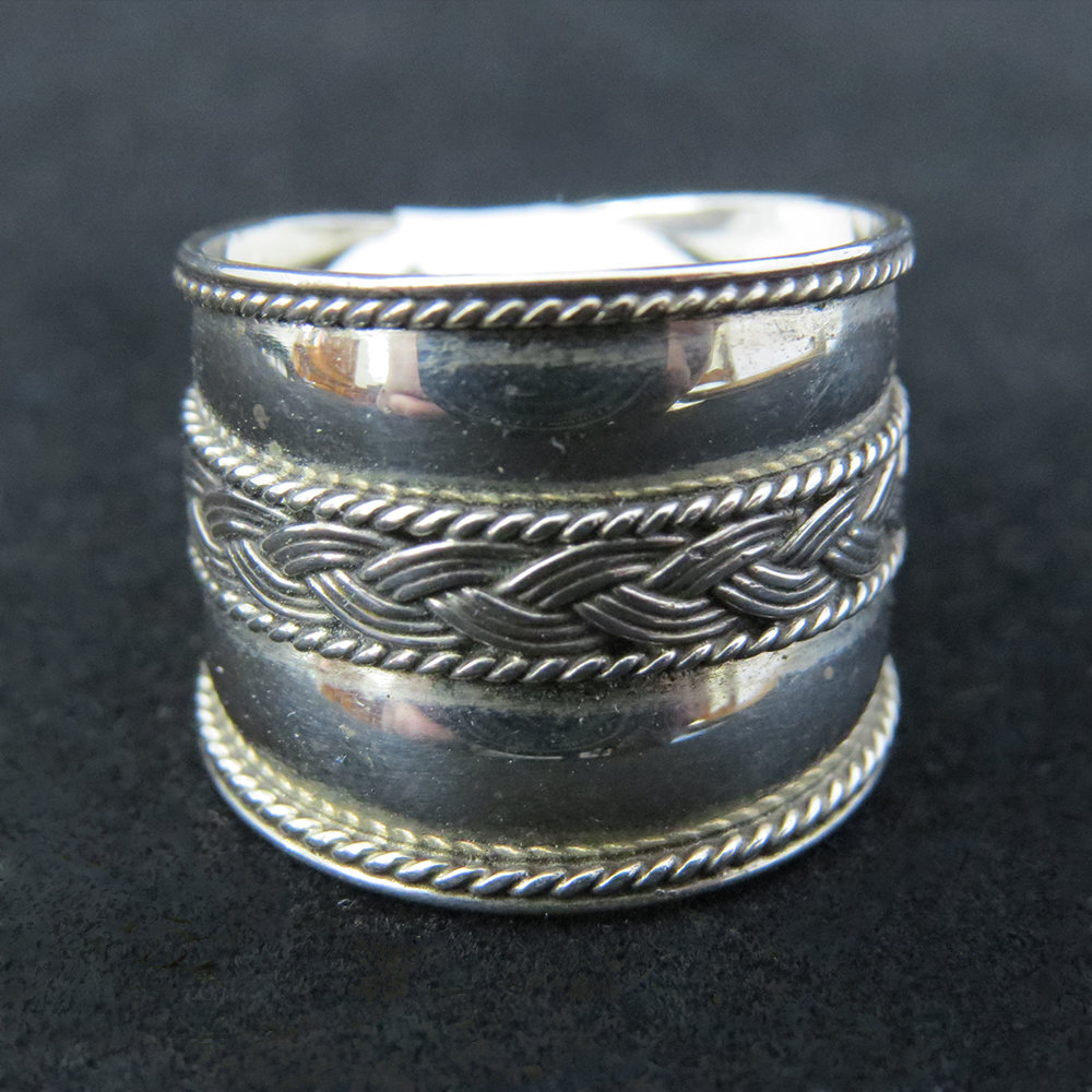 Sterling Silver Wide Band With Braided Center
