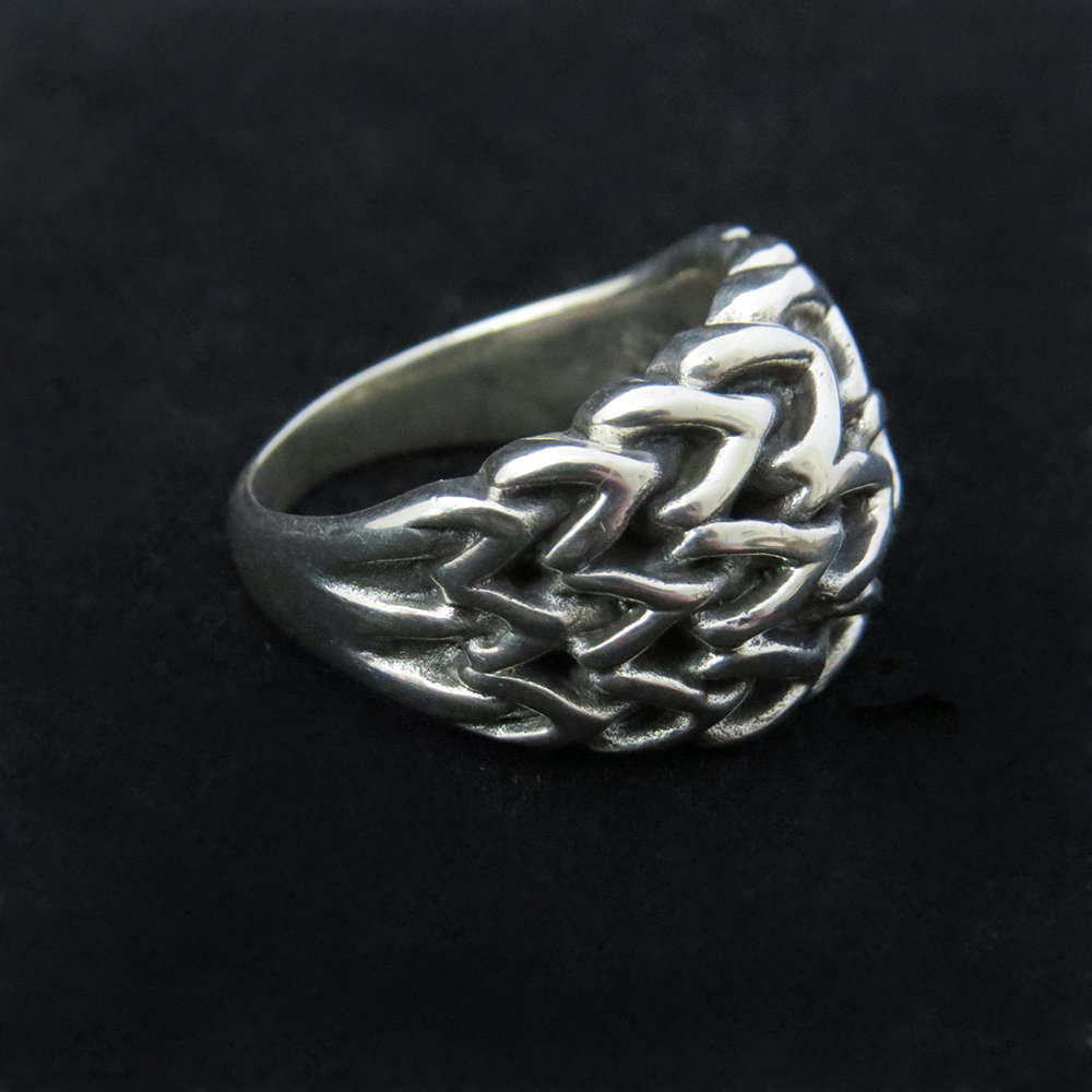 Sterling Silver Woven Unisex Ring R-09210