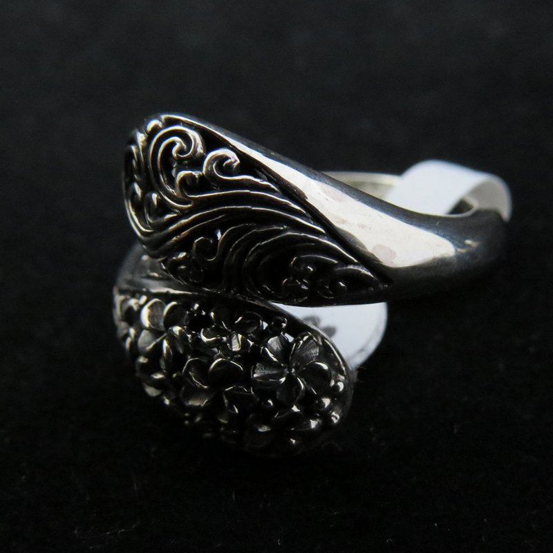 Sterling Silver Cross Over with Frangipani Ring