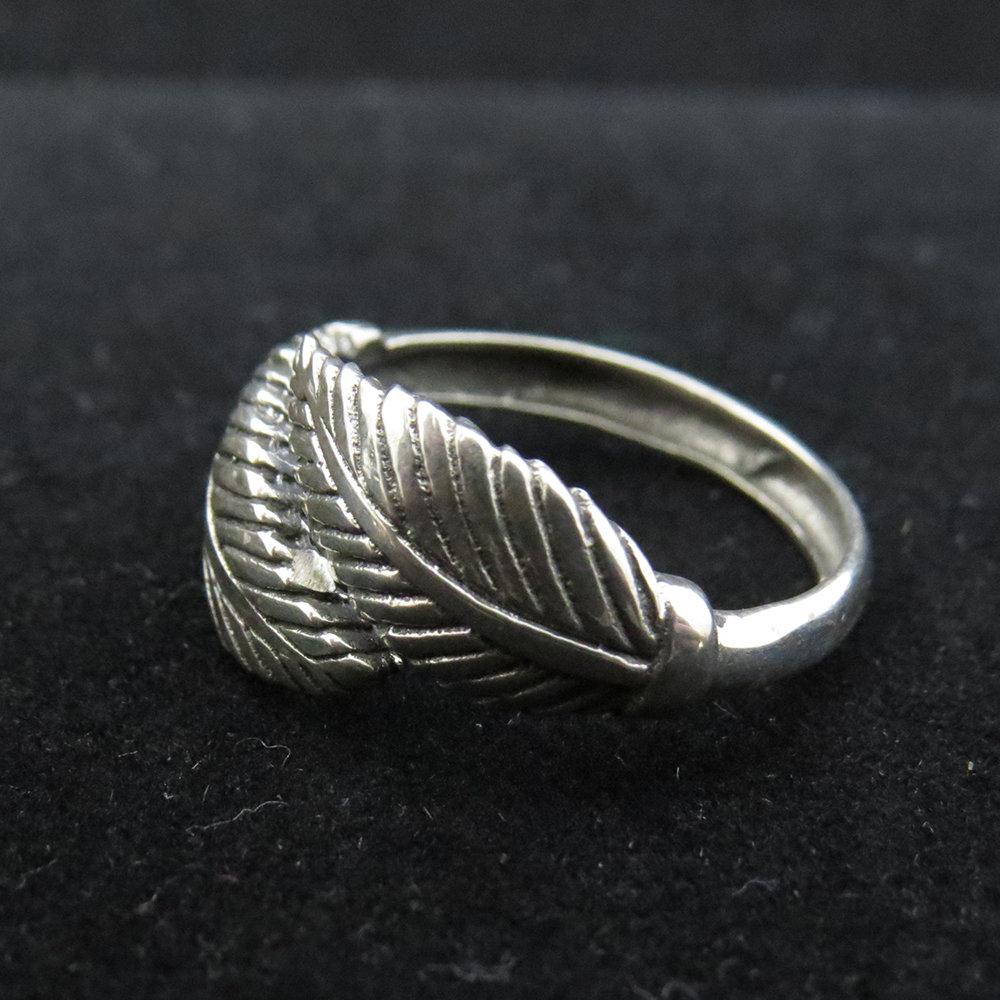 Sterling Silver Cross Over Leaf Design R-09214