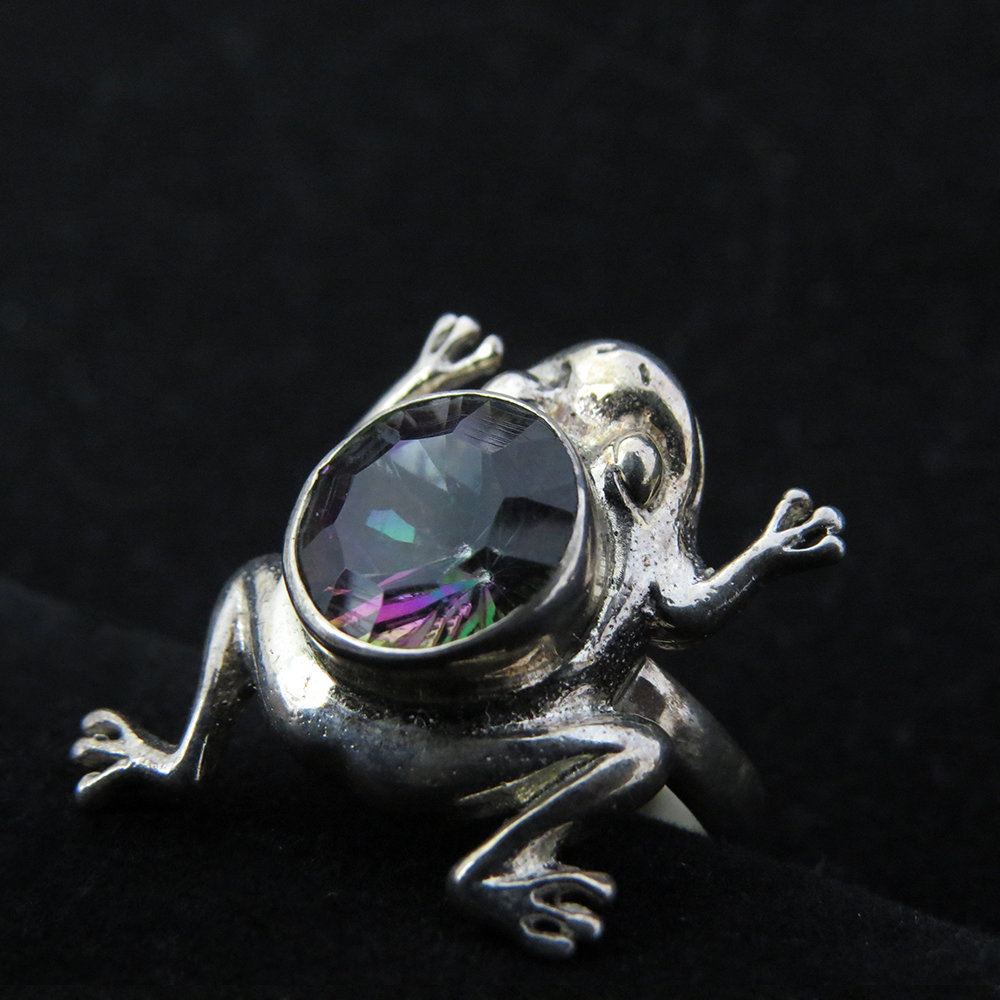 Sterling Silver Frog Design with Mystic Topaz R-ACC-2457 Mystic Topaz