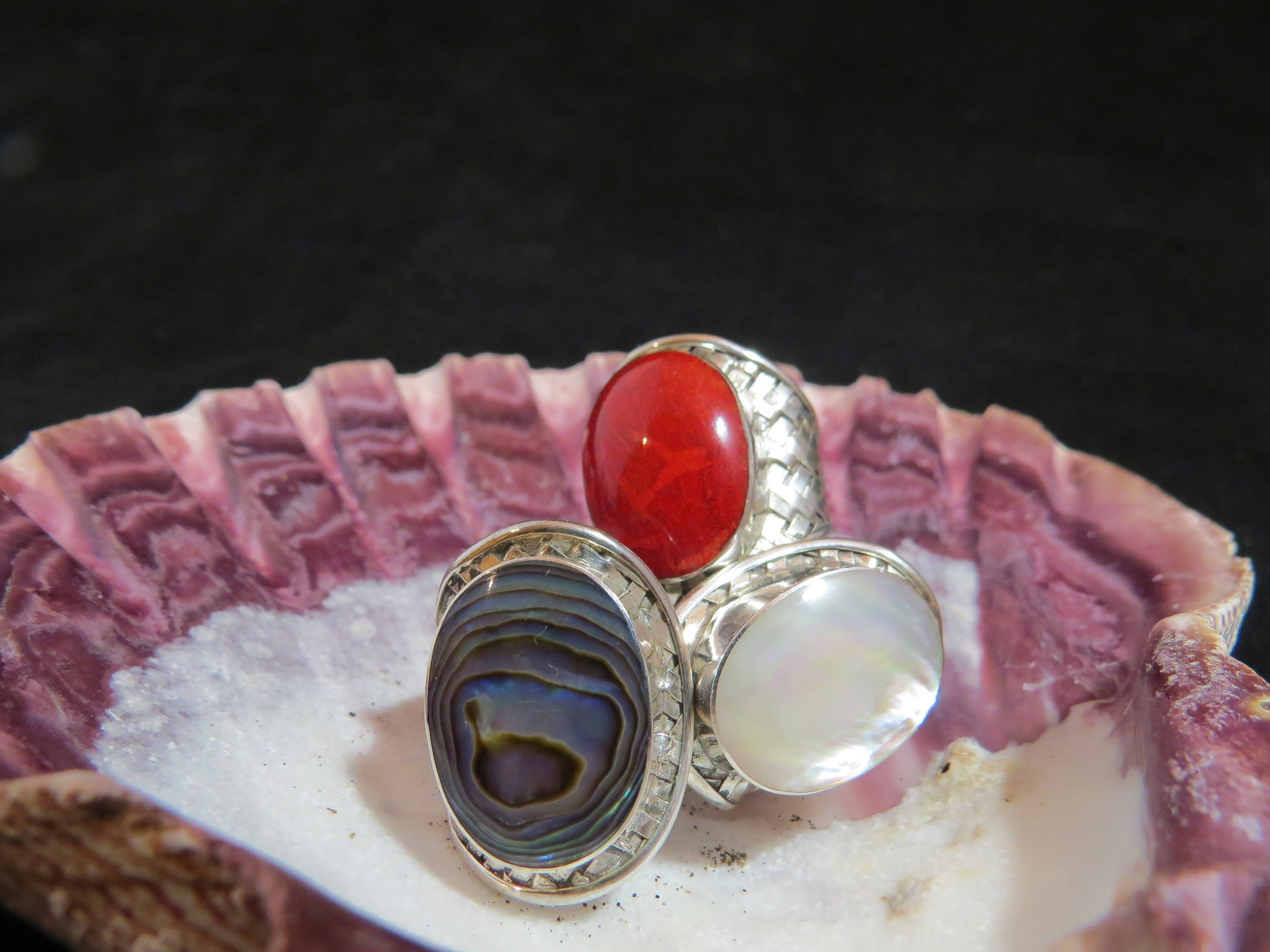 Sterling Silver Red Coral Cross-Hatched Ring R-ACC-2502 Red Coral