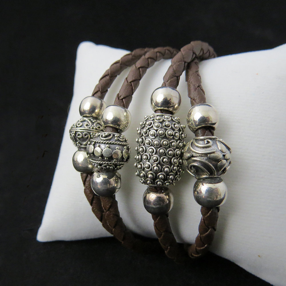 Brown Leather Bali Sterling Silver Beads BR-AGL-2339 Brown