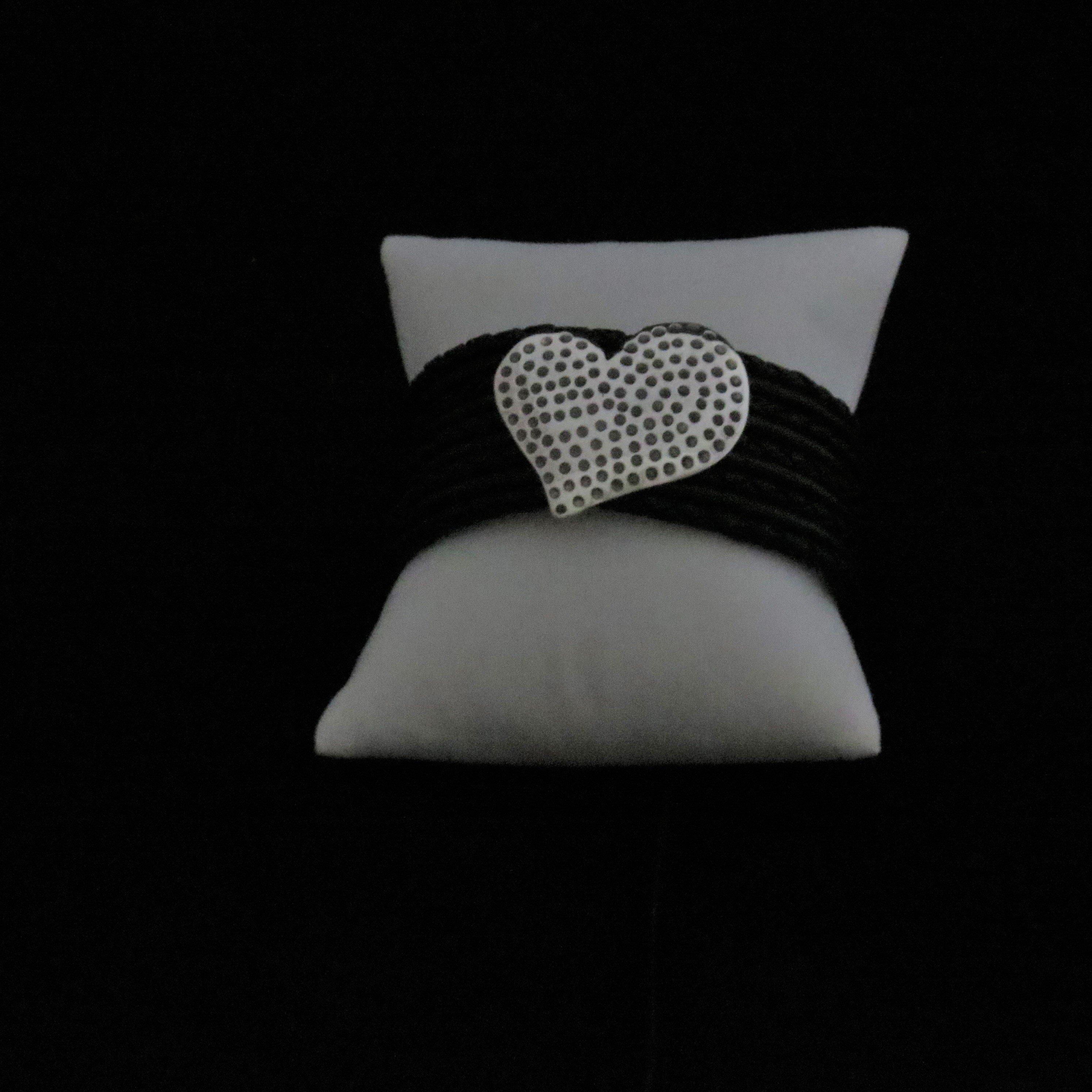 Black Leather Sterling Silver with Heart Bracelet BR-09001