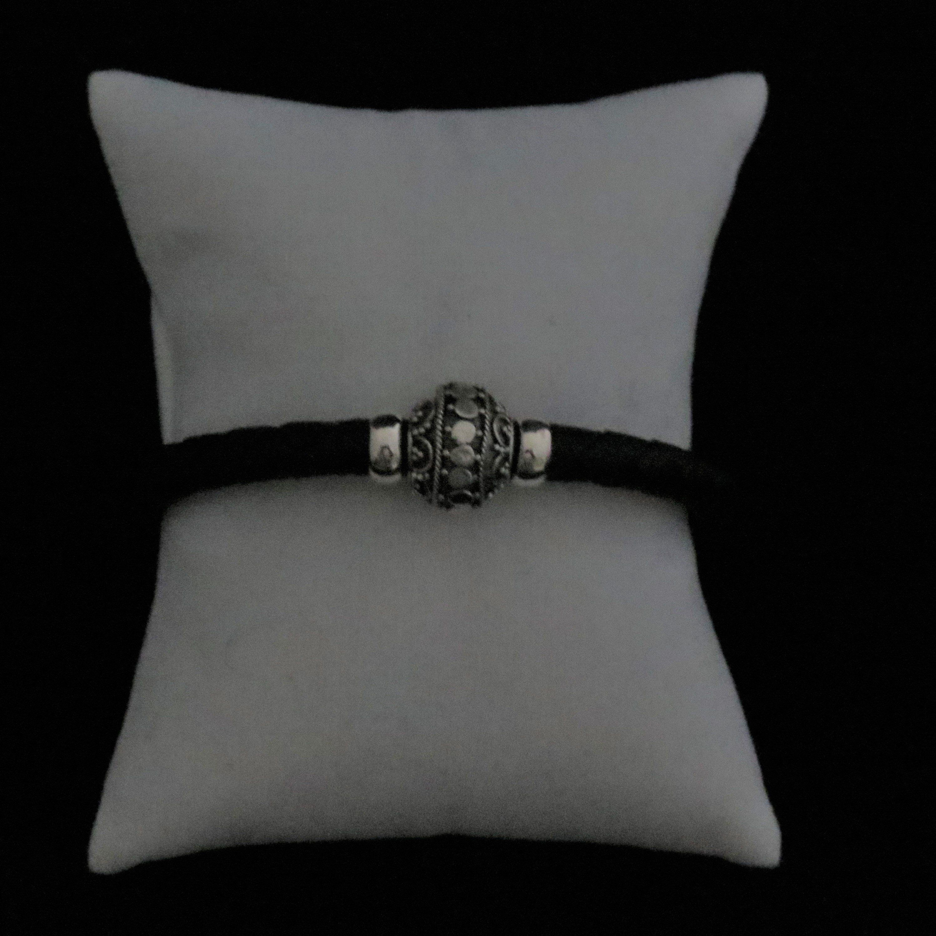 Sterling Silver Bali Designer Beads on Black Leather BR-AGL-2340 Mens