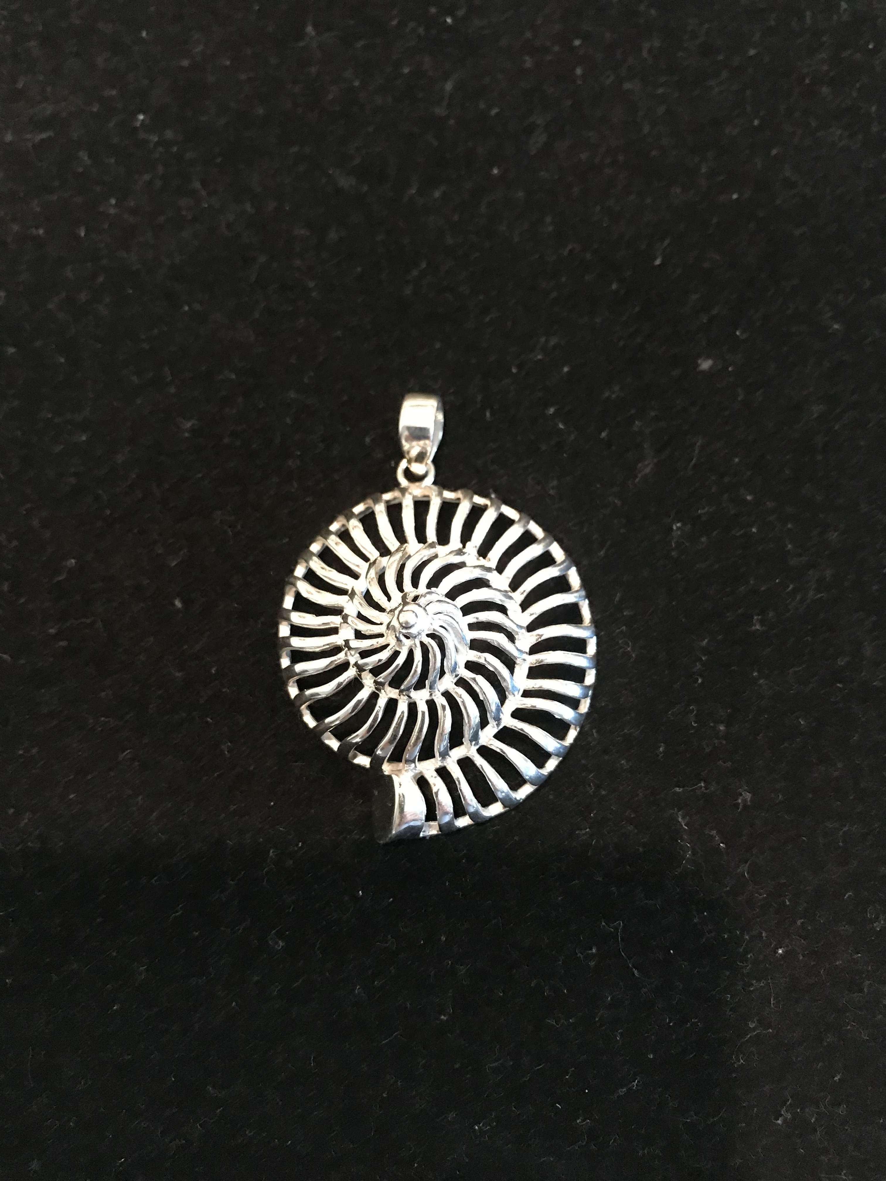 Sterling Silver Open Nautilus Shell Pendant P-09131