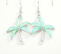 Palm Tree Light Blue Earrings